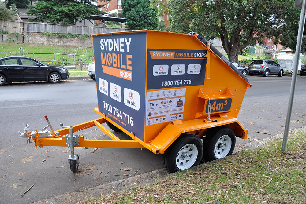 Mobile skip bin on street in eastern suburbs of Sydney. Sydney Mobile Skips.